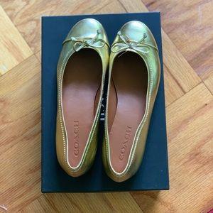 Coach Flats Gold Size 7